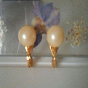 Monet Pearl Faux Clip on Earrings